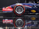 A Pirelli tyre on display on a Red bull show car at the Geneva Motor Show