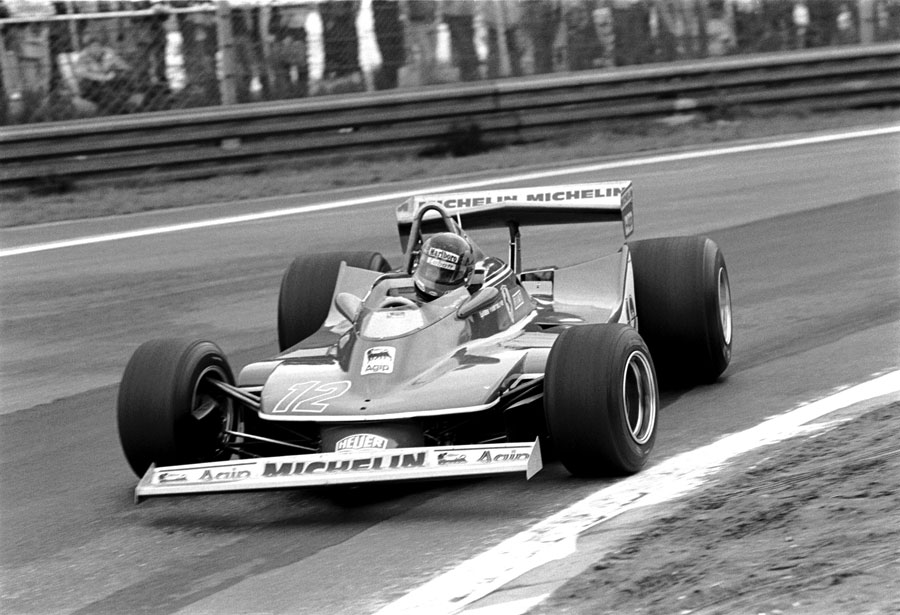Gilles Villeneuve tests the limits in his Ferrari during practice