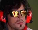 Fernando Alonso in the Ferrari pits