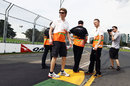 Nico Hulkenberg inspects the kerbs at turn 9