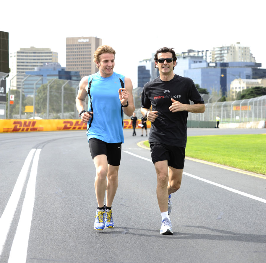 HRT's Dani Clos and Pedro de la Rosa run the Albert Park track