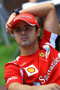 Felipe Massa relaxes in the paddock