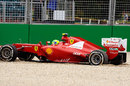 Felipe Massa beaches his Ferrari in the gravel at turn nine