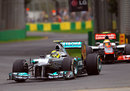 Nico Rosberg leads Lewis Hamilton through turn six