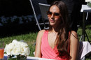Jessica Michibata relaxes in the paddock