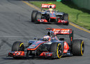 Jenson Button leads Lewis Hamilton early in the early stages