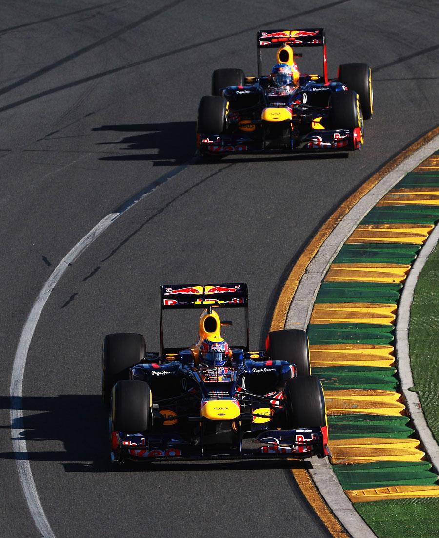 Sebastian Vettel follows Mark Webber through the opening corners