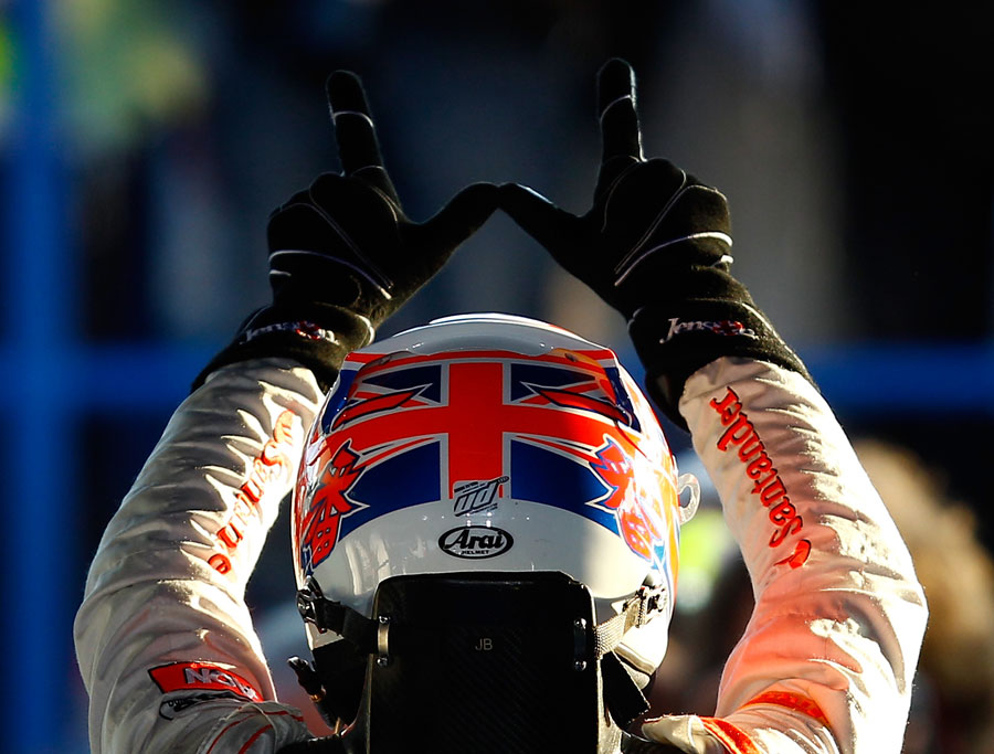 Jenson Button celebrates his victory