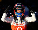 Jenson Button celebrates his victory at Albert Park