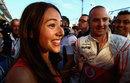 Jessica Michibata celebrates boyfriend Jenson Button's victory