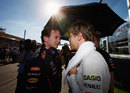Christian Horner briefs Sebastian Vettel on the starting grid