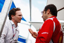 Christian Horner and Stefano Domenicali in conversation ahead of the grand prix weekend