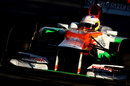 Paul di Resta contends with the setting sun at Albert Park