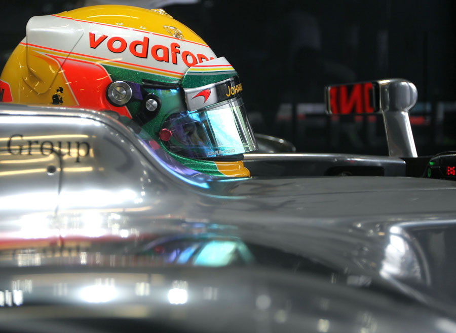 Lewis Hamilton in his McLaren cockpit