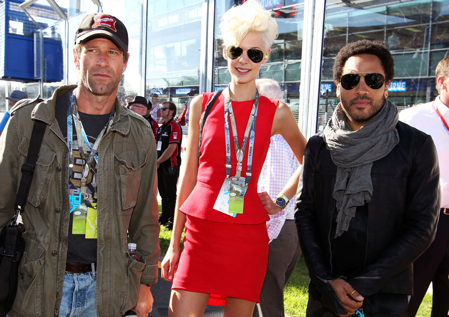 Aaron Eckhart, Kate Peck and Lenny Kravitz on the grid