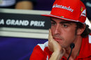 Fernando Alonso looking pensive during the Thursday press conference