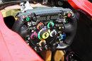 Detail on the Ferrari steering wheel