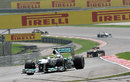 Nico Rosberg tackles turn four as the circuit gets busy