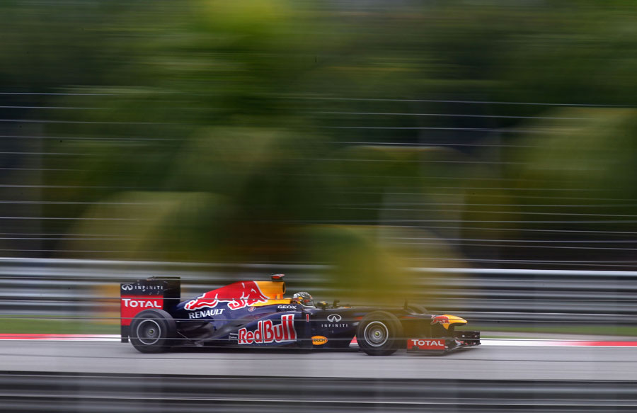 Sebastian Vettel at speed during FP3