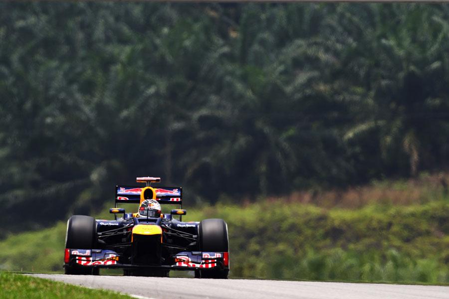 Sebastian Vettel on a medium tyre run
