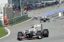 Sergio Perez leaves the pit lane