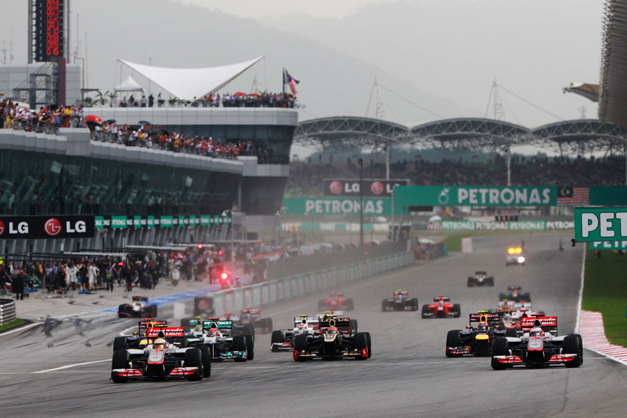 Lewis Hamilton leads at the start of the race