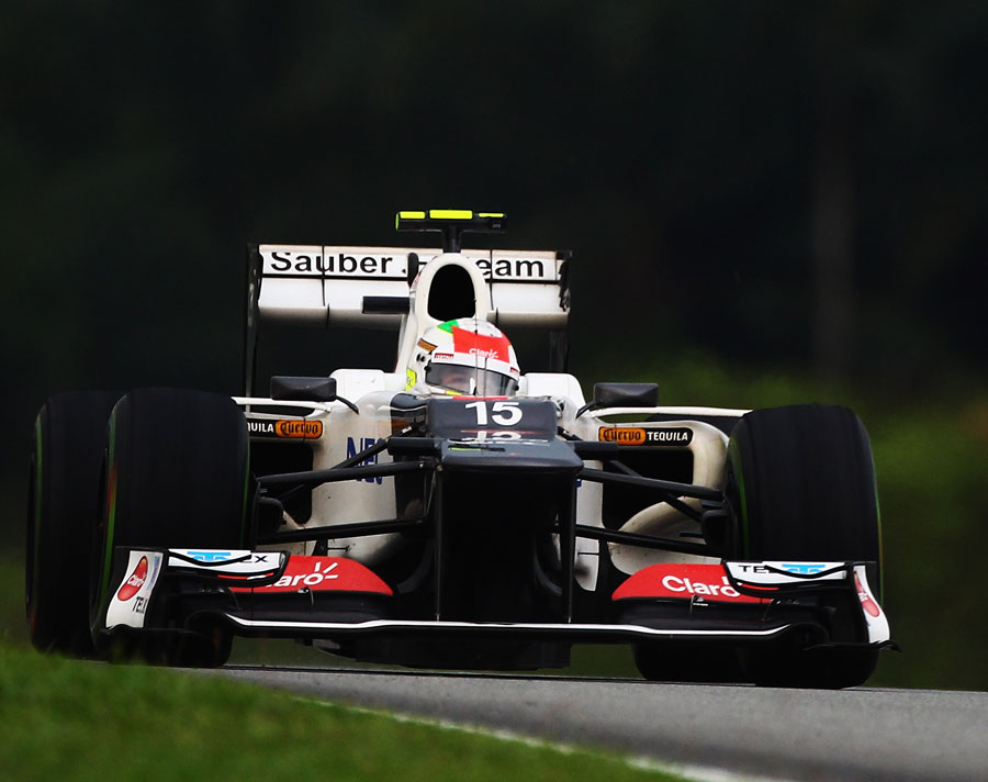 Sergio Perez hunts down Fernando Alonso on intermediate tyres