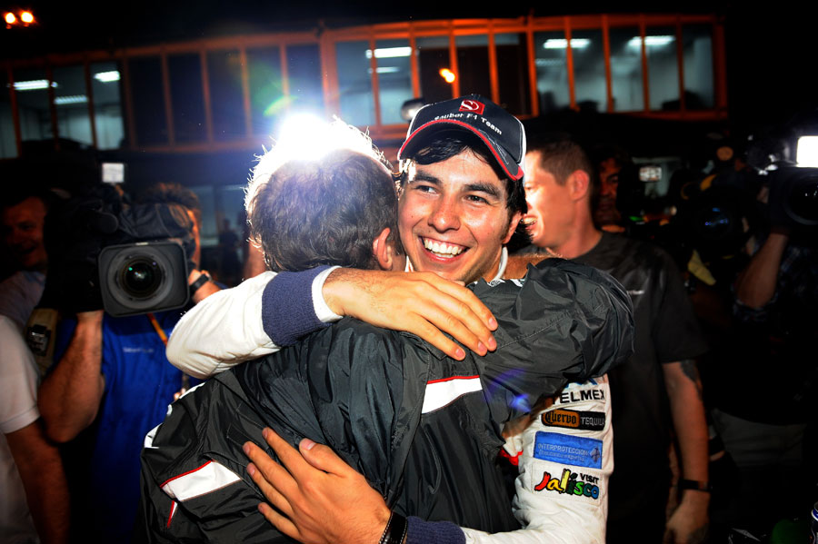 Sergio Perez celebrates his second-place finish