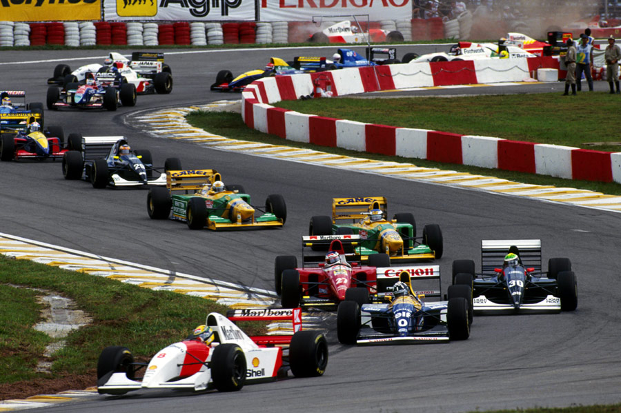 Ayrton Senna leads the Brazilian Grand Prix on the way to McLaren's 100th F1 victory