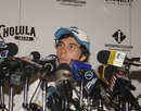 Sergio Perez talks to the press in his home town