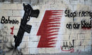 Anti-Formula One graffiti in a village west of Manama