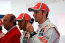 Jenson Button speaks at the announcement of Formula Santander Scholarships