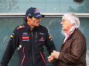 Mark Webber and Bernie Ecclestone chat in the paddock