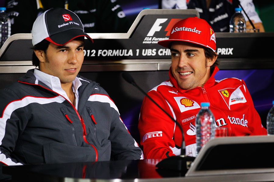 Fernando Alonso and Sergio Perez in the driver press conference on Thursday