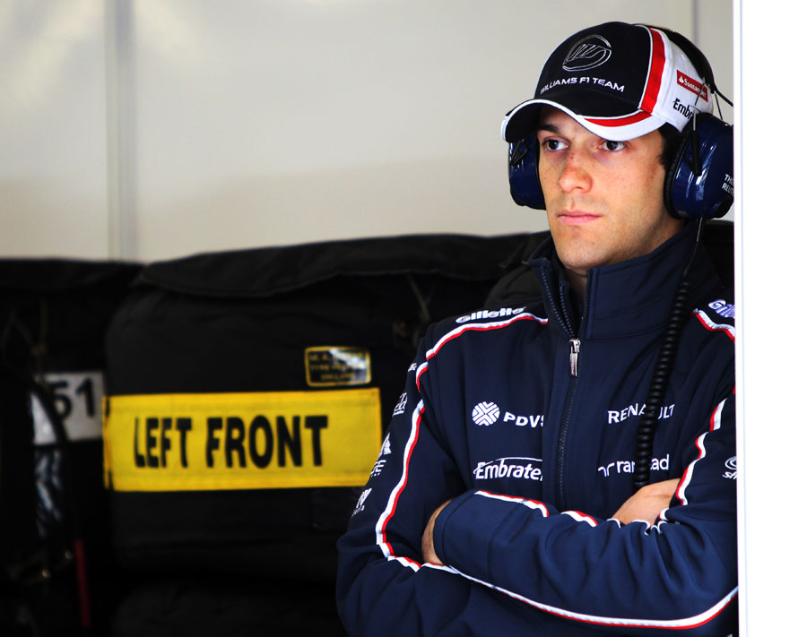 Bruno Senna watches on from the Williams garage