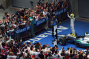 Nico Rosberg celebrates his maiden victory in parc ferme