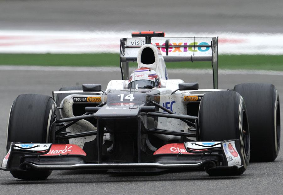 Kamui Kobayashi on a medium tyre stint