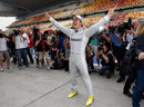 Nico Rosberg celebrates his first F1 victory