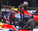 Mark Webber and Sebastian Vettel shake hands after battling for fourth and fifth