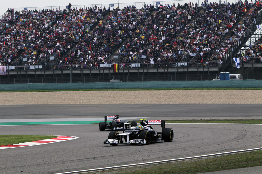 Bruno Senna leads his Williams team-mate Pastor Maldonado