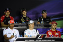 The drivers face the press in the FIA press conference
