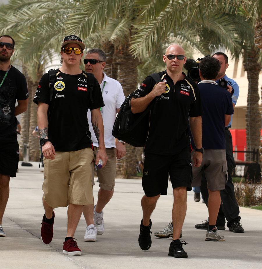 Kimi Raikkonen arrives in the paddock