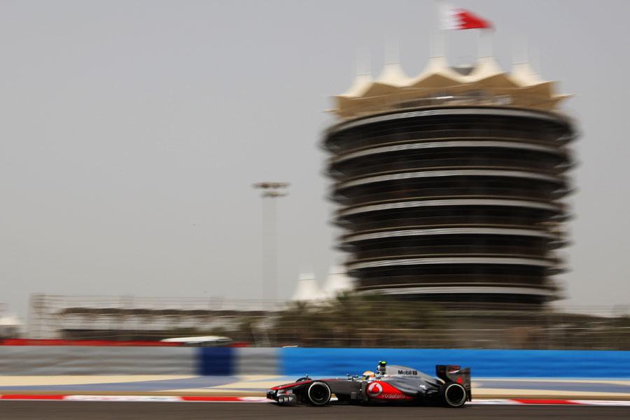 Lewis Hamilton heads towards turn one