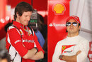 Felipe Massa and Rob Smedley look relaxed in the Ferrari garage