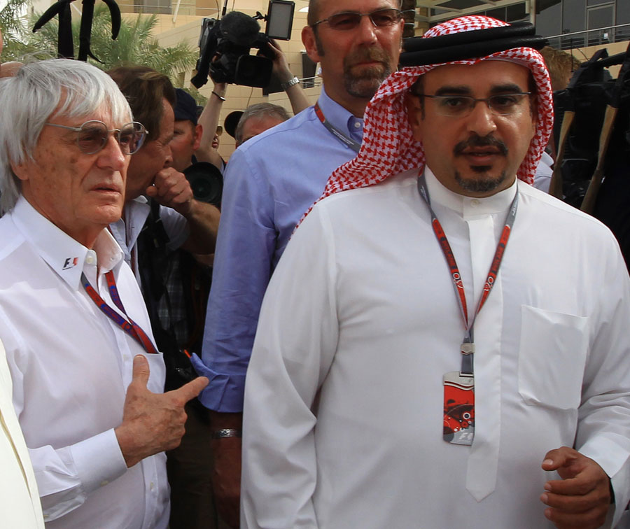 Bernie Ecclestone and Crown Prince Shaikh Salman bin Isa Hamad Al Khalifa in the paddock