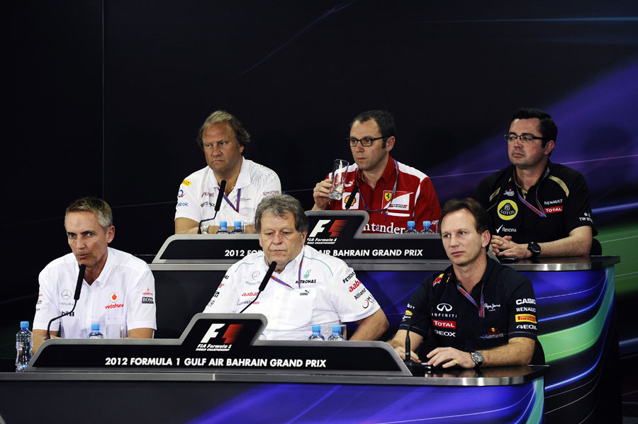 Team principals face the press in the FIA press conference on Friday