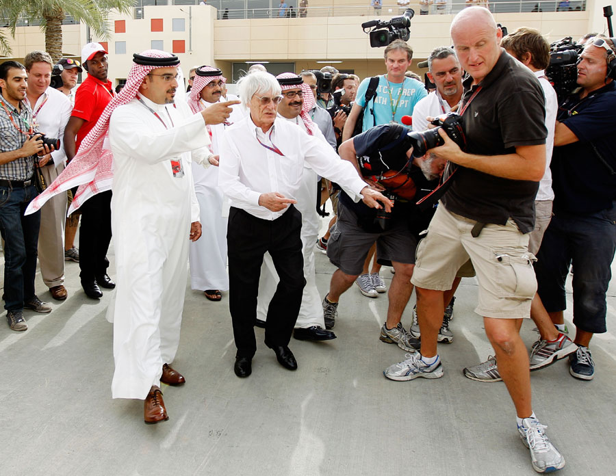 Bernie Ecclestone and Crown Prince Shaikh Salman bin Isa Hamad Al Khalifa in the paddock