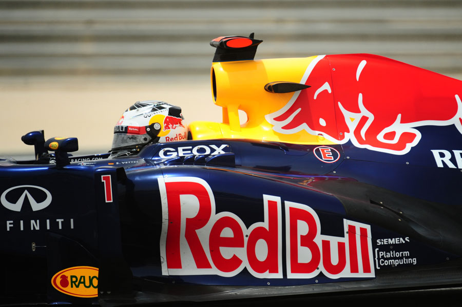 Sebastian Vettel running the newer specification Red Bull exhaust
