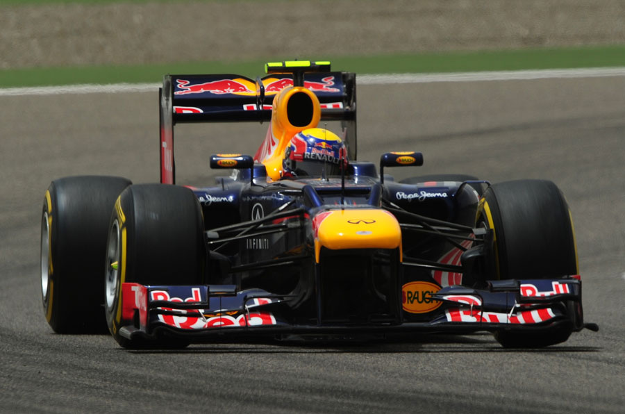 Mark Webber searches for grip on the soft tyre