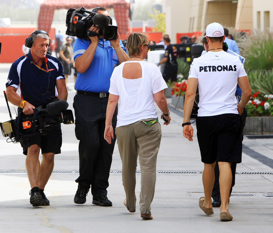 Michael Schumacher in the paddock after dropping out of qualifying in Q1
